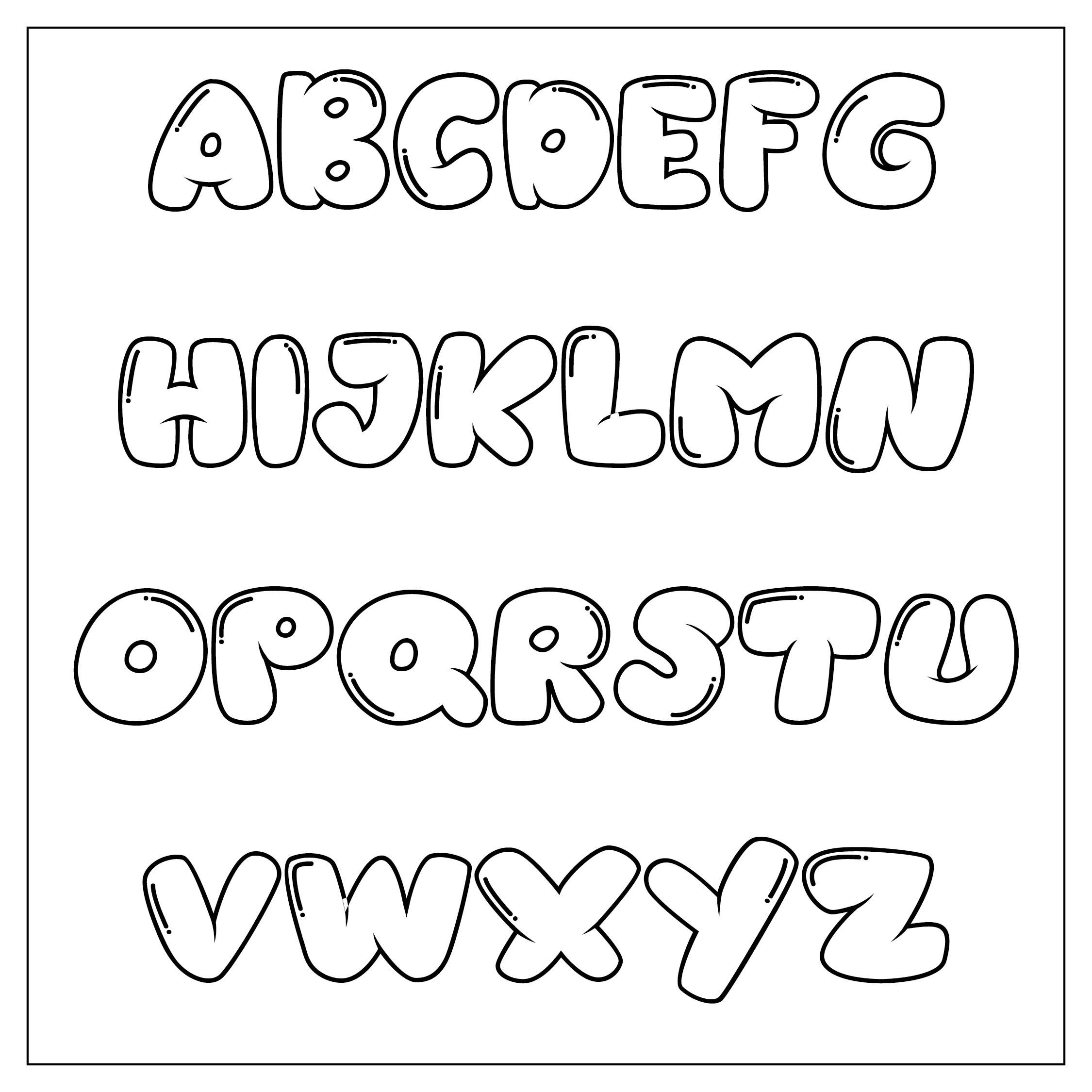 Large Printable Bubble Letters