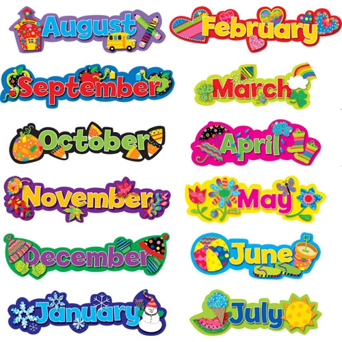 6 Images of Birthday Months Printable