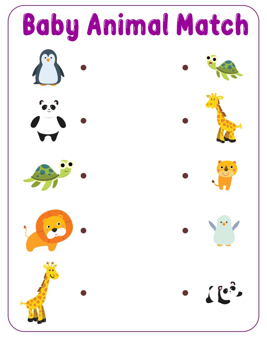 5 Images of Baby Animals Matching Printables