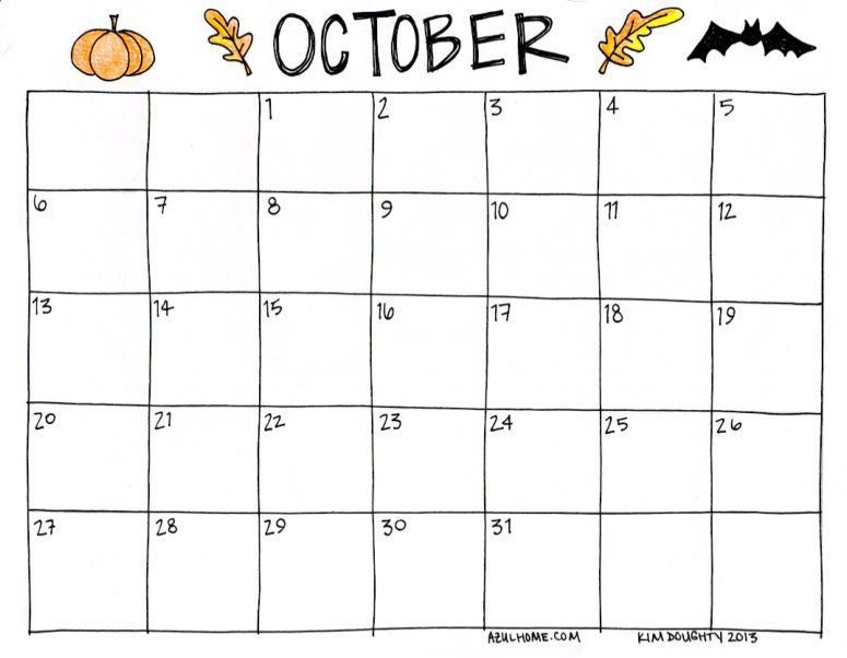 9 Images of Oct 2013 Calendar Printable