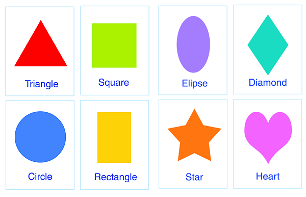 4 Images of Large Colourful Basic Printable Shapes