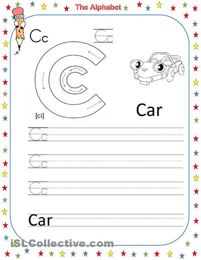 math worksheet : 6 best images of printable letter worksheets c  printable letter  : Worksheets On Alphabets For Kindergarten
