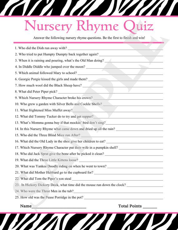 7 Images of Printable Nursery Rhyme Trivia