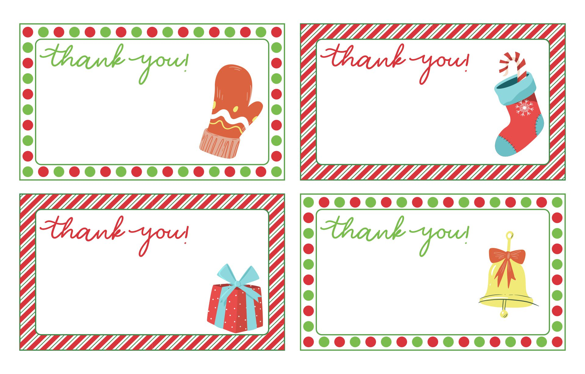 7 Images of Christmas Thank You Cards Free Printables
