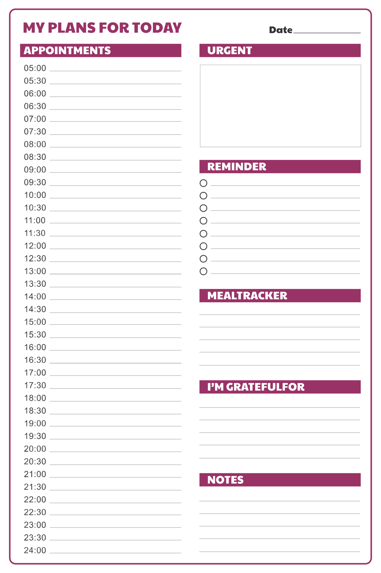 Printable Daily Hourly Schedule Template