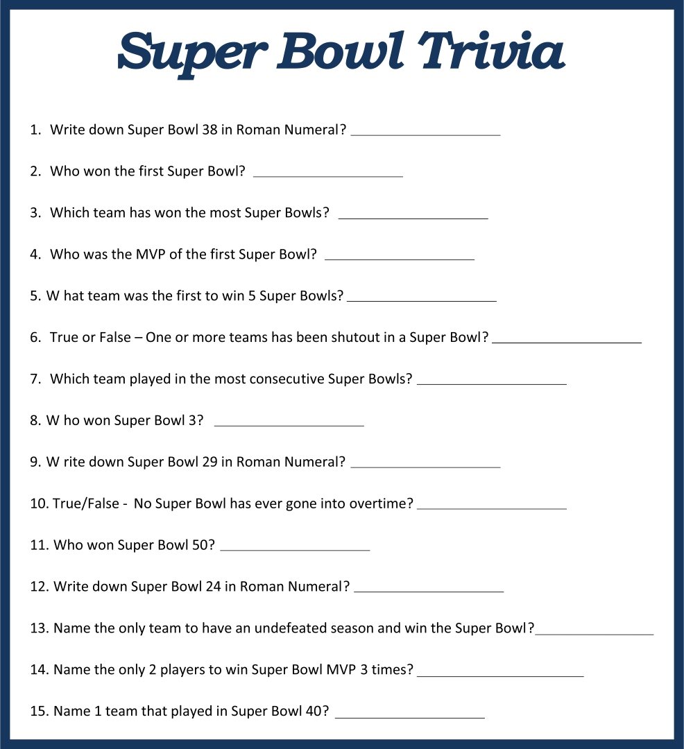 Printable Football Trivia Games
