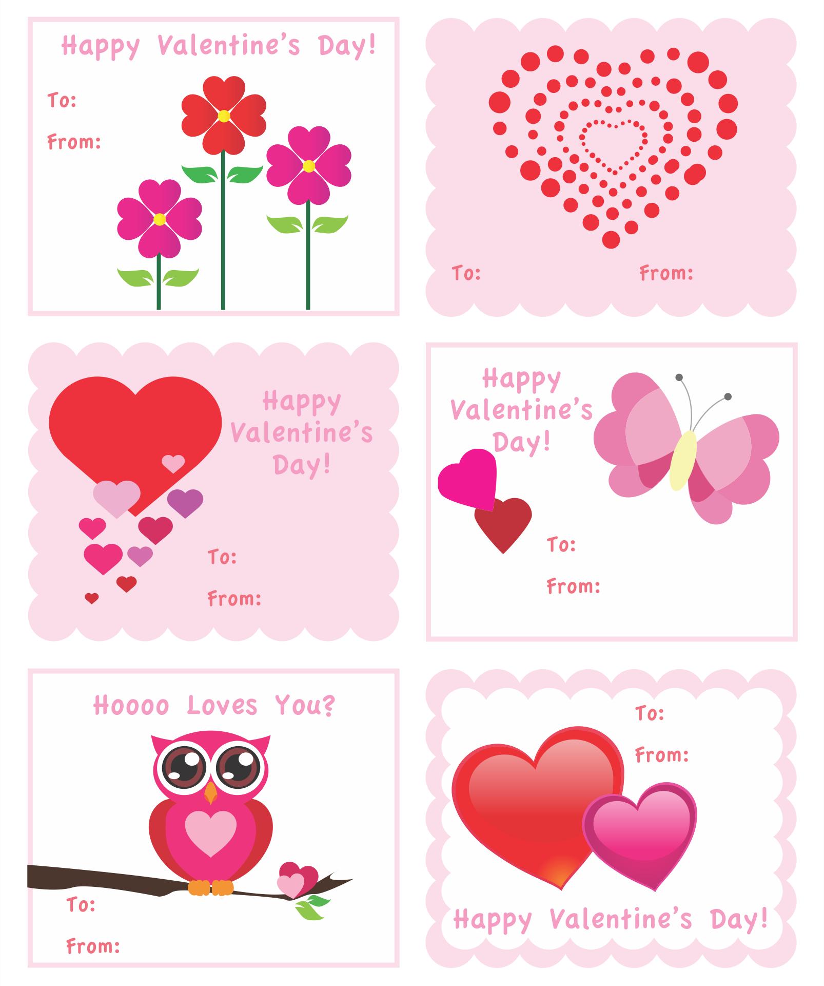 Printable Kids Valentine Cards Templates Free