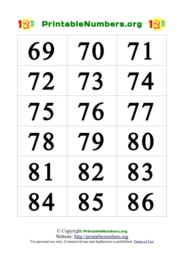 8 Images of Printable Number Cards To 100