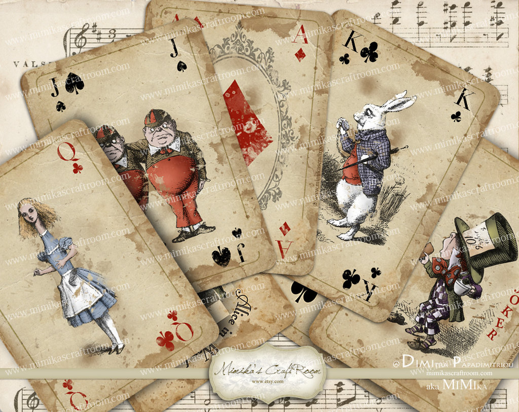 8 Images of Alice In Wonderland Playing Cards Printable