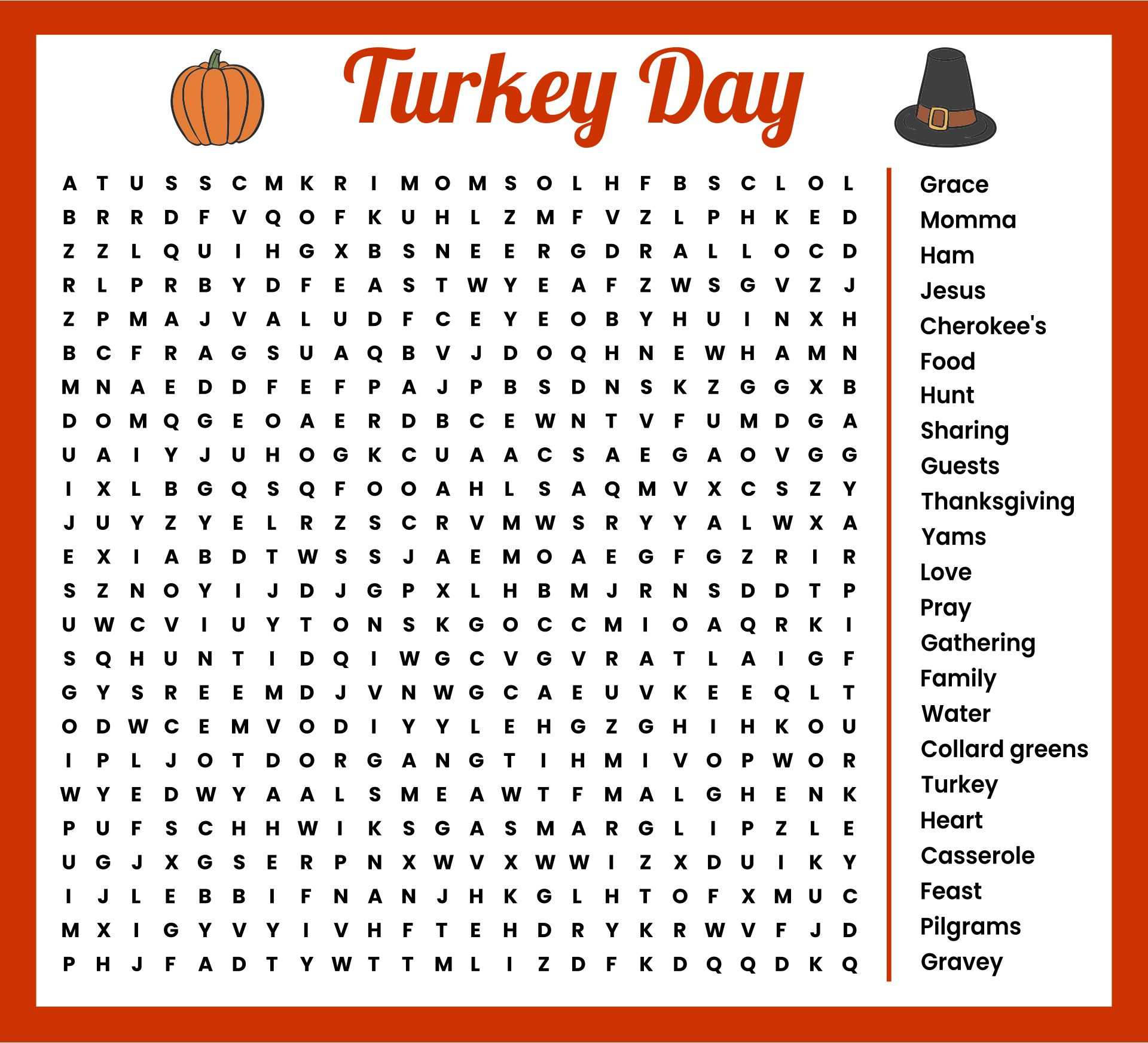 Printable Thanksgiving Word Searches
