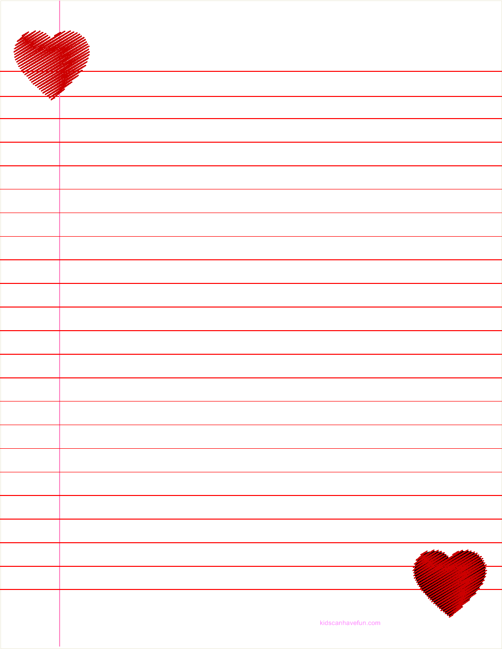 5 Images of Heart Writing Paper Printable