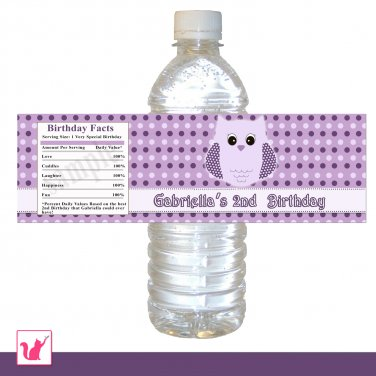 Purple Owl Water Bottle Labels Free Printables