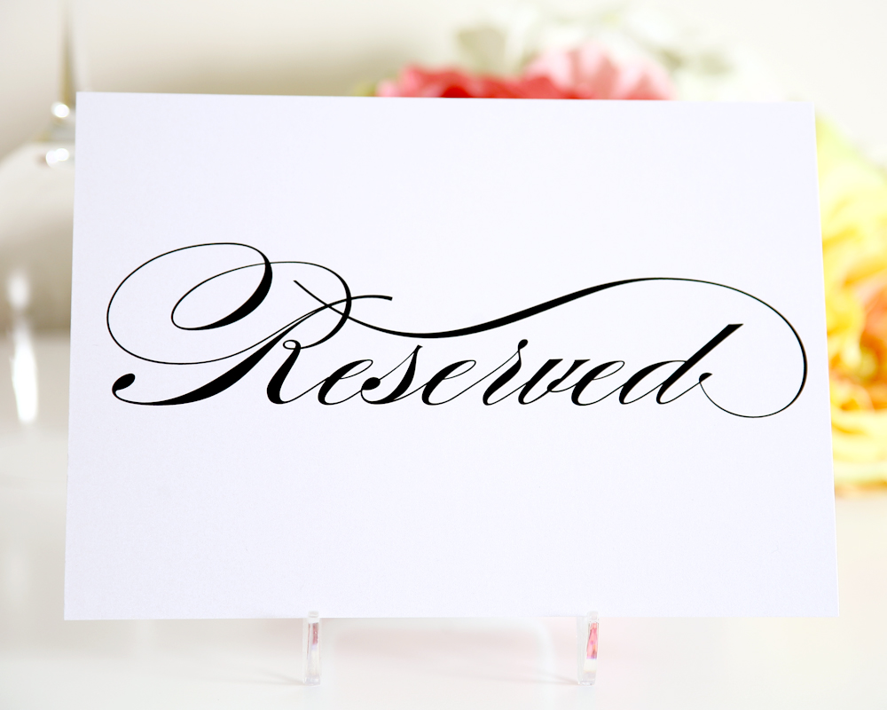 9 best images of free printable wedding card table sign for Reserved seating signs template