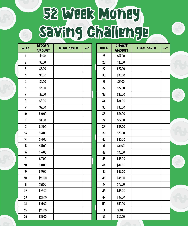 Reverse 52 Week Money Challenge Printable