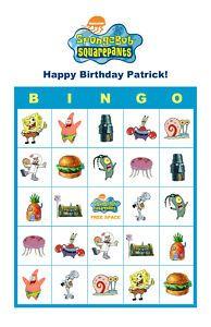 4 Images of Spongebob Bingo Printable