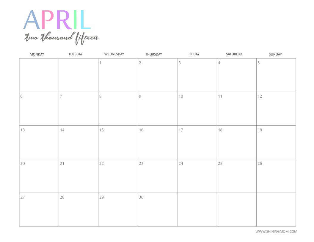 6 Images of Cute Chevron April 2015 Calendar Printable