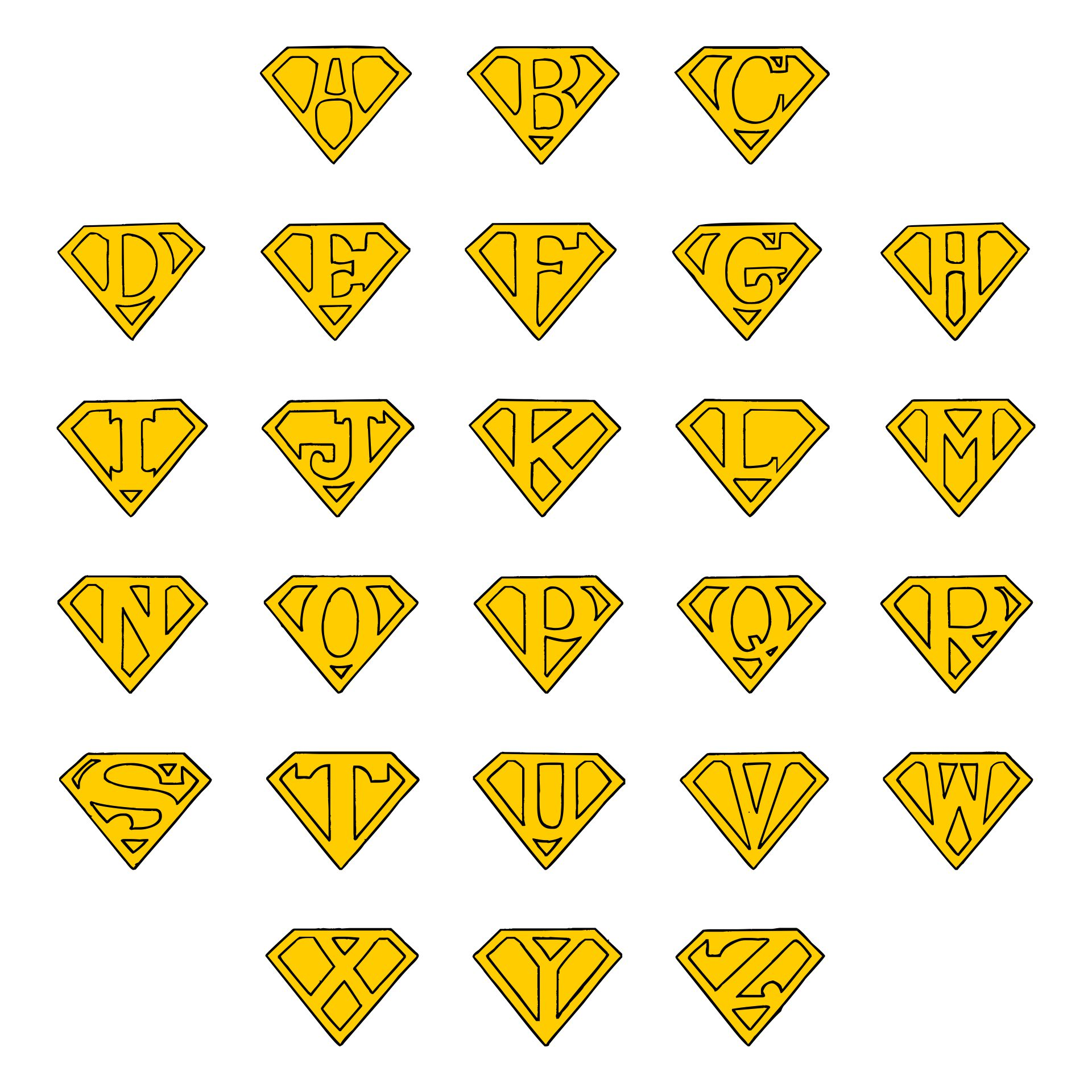 7 Images of Printable Superman Logo Alphabet