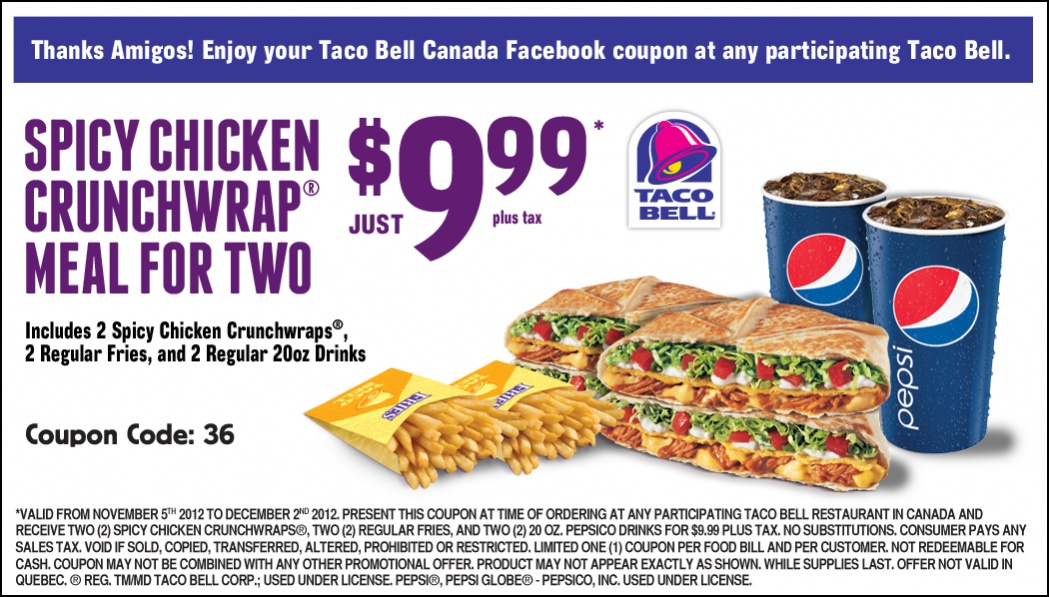 6 Images of Taco Bell Printable Menu