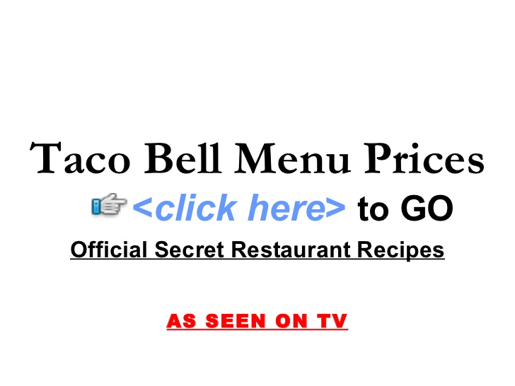 Taco Bell Printable Menu with Prices