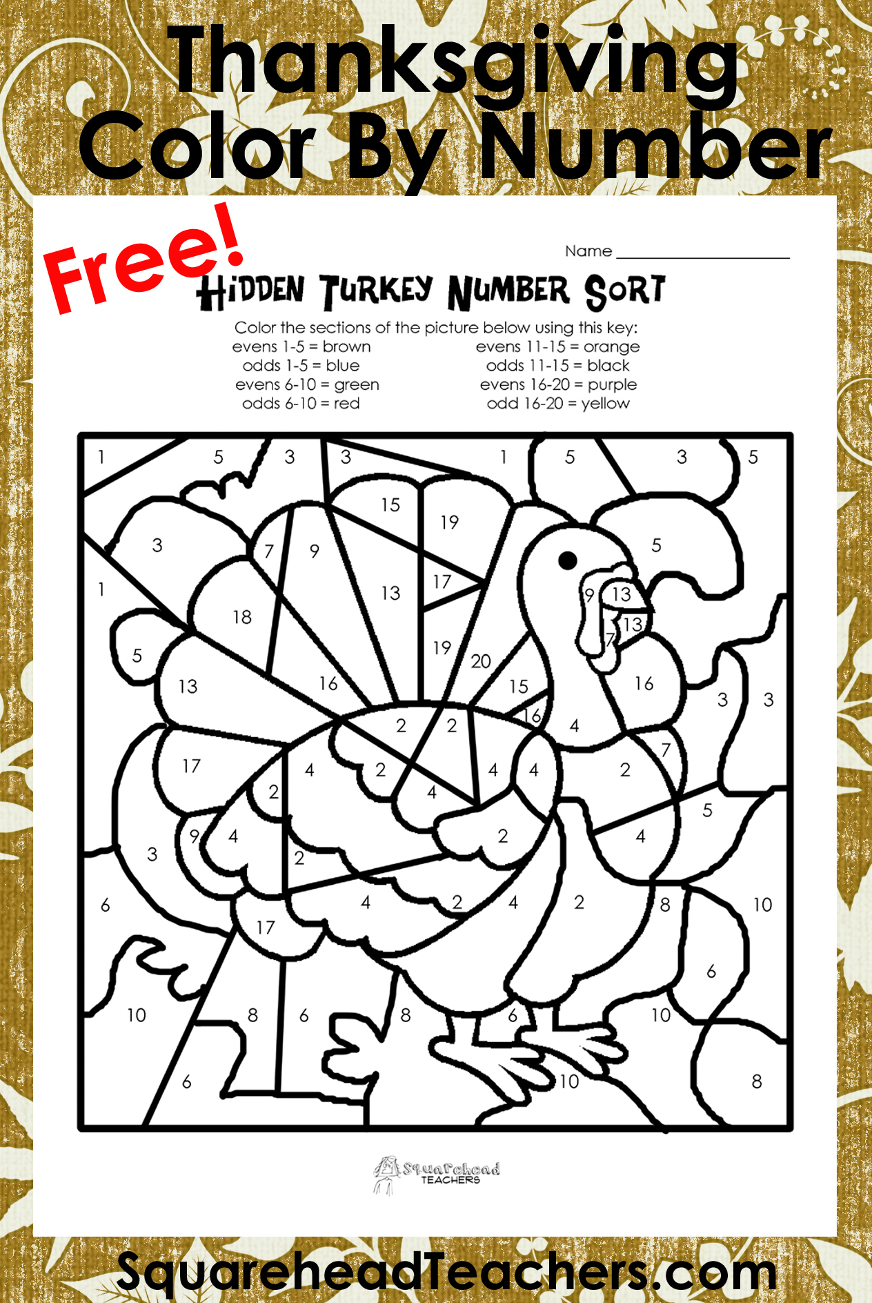 Thanksgiving Coloring Worksheet : Best images of thanksgiving color by number printables