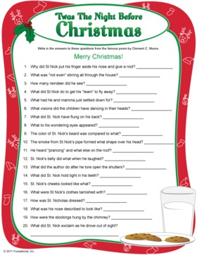 Before Christmas Game Printable - Night Before Christmas Left Right ...