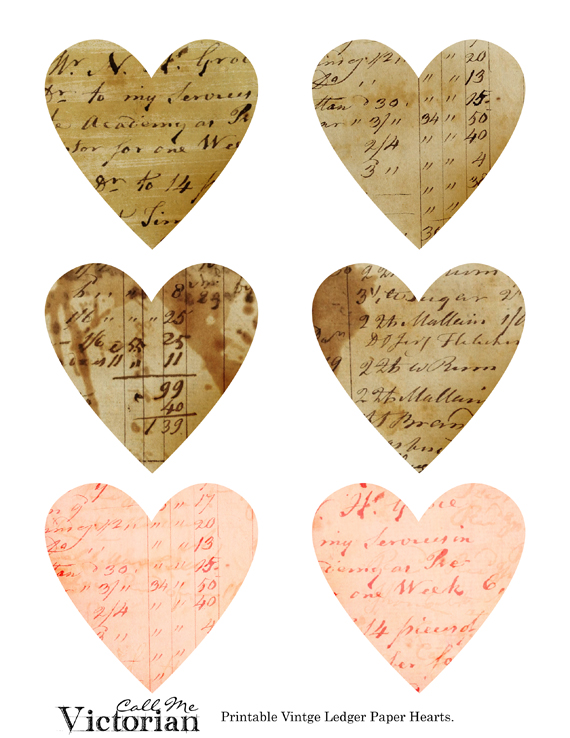 6 Images of Printables Vintage Paper Hearts