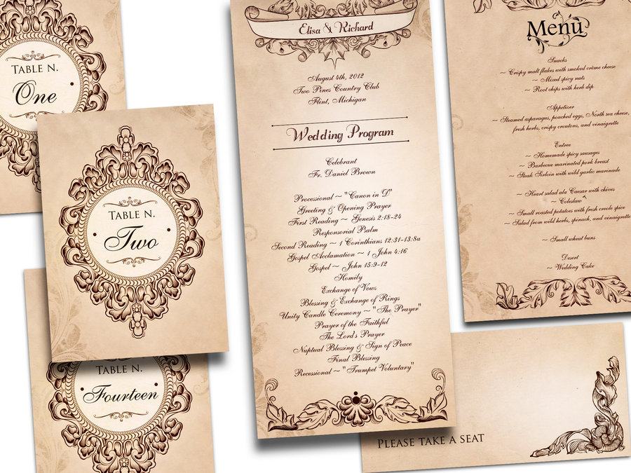 8 Images of Printable Vintage Wedding Invitations