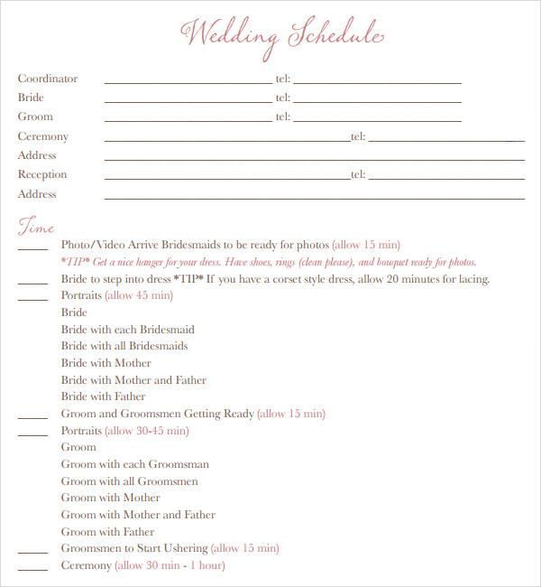 Wedding Schedule Samples