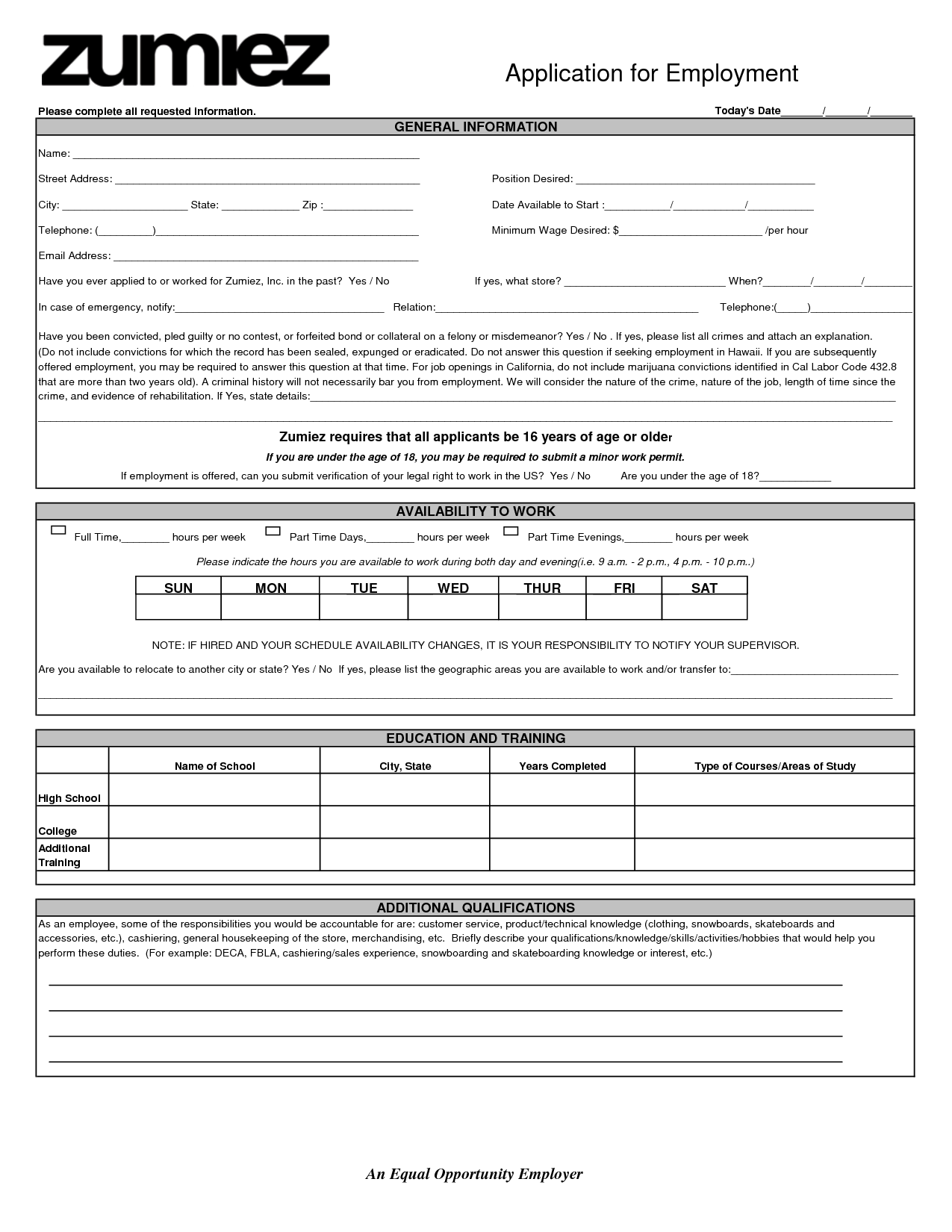 Watch more like Hot Topic Application Print Out – Printable Application