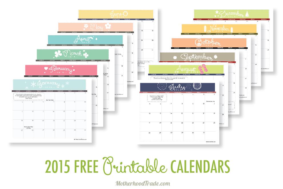 6 Images of Free Printable Calendars Com 2015