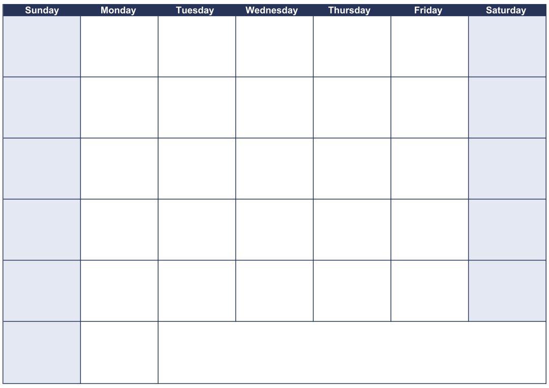 30-Day Blank Calendar Printable