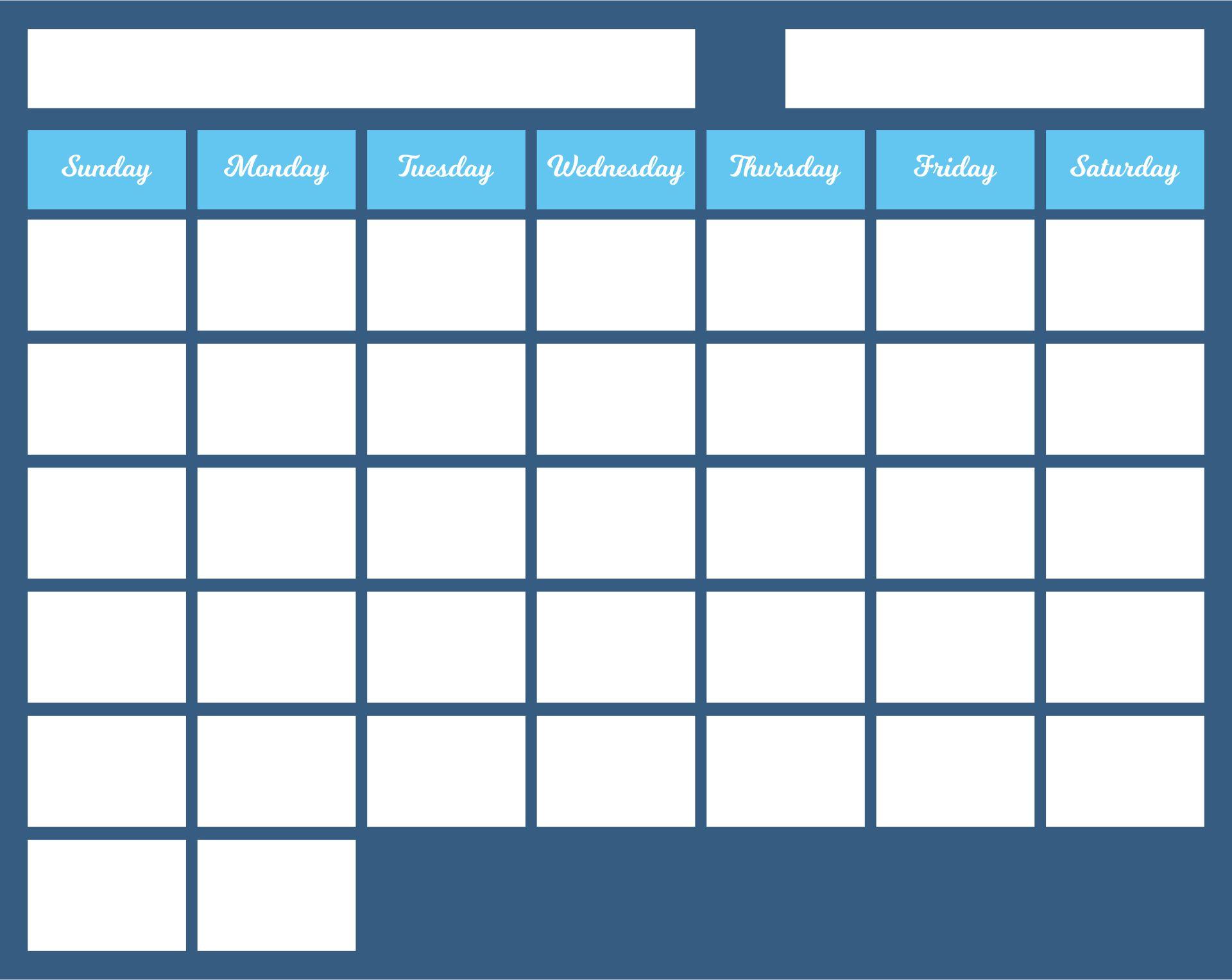 30-Day Blank Calendar Template