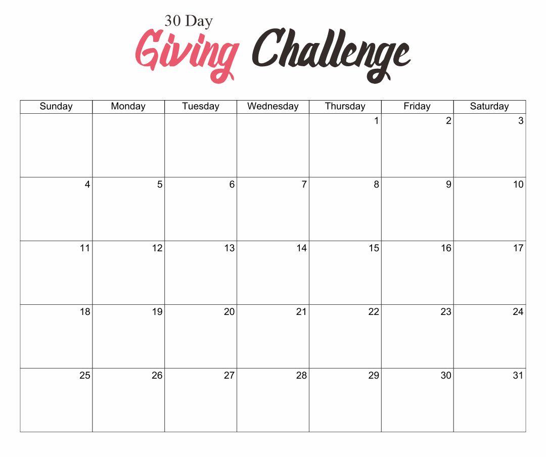 30-Day Calendar Printable Free
