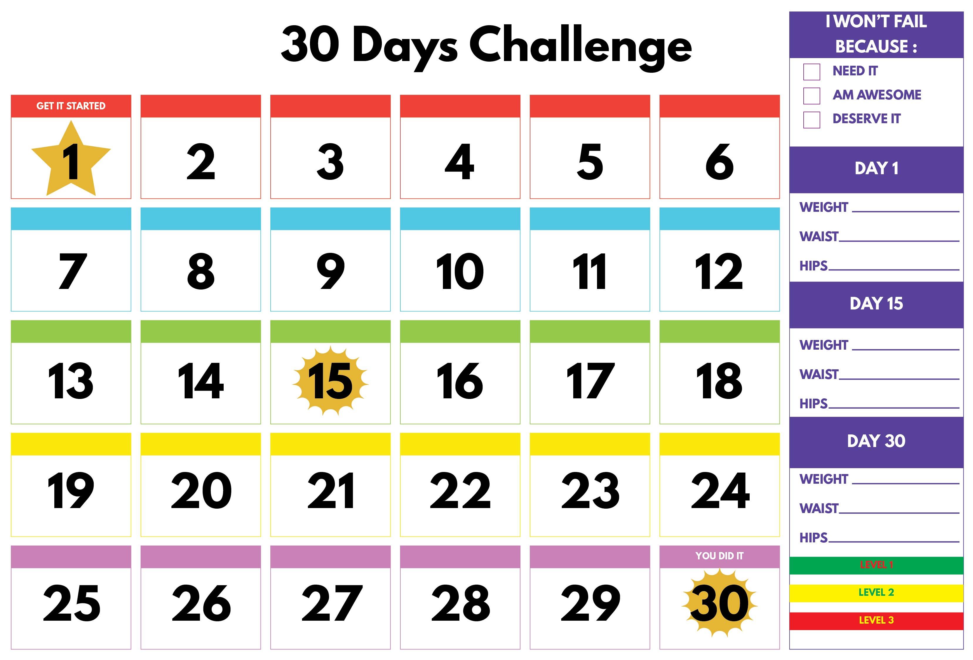 30-Day Shred Printable Calendar