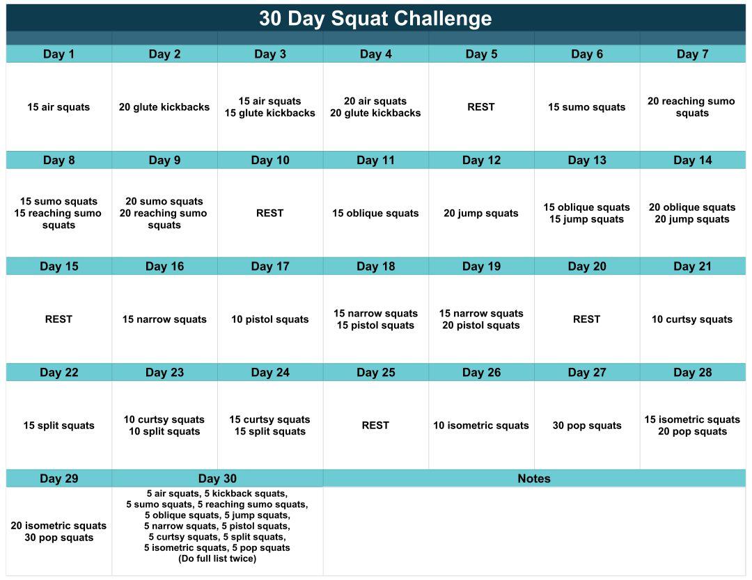 30-Day Squat Challenge Printable