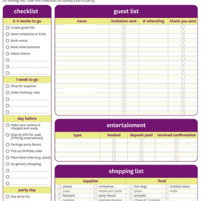 7 Images of Party Checklist Printable For Adults