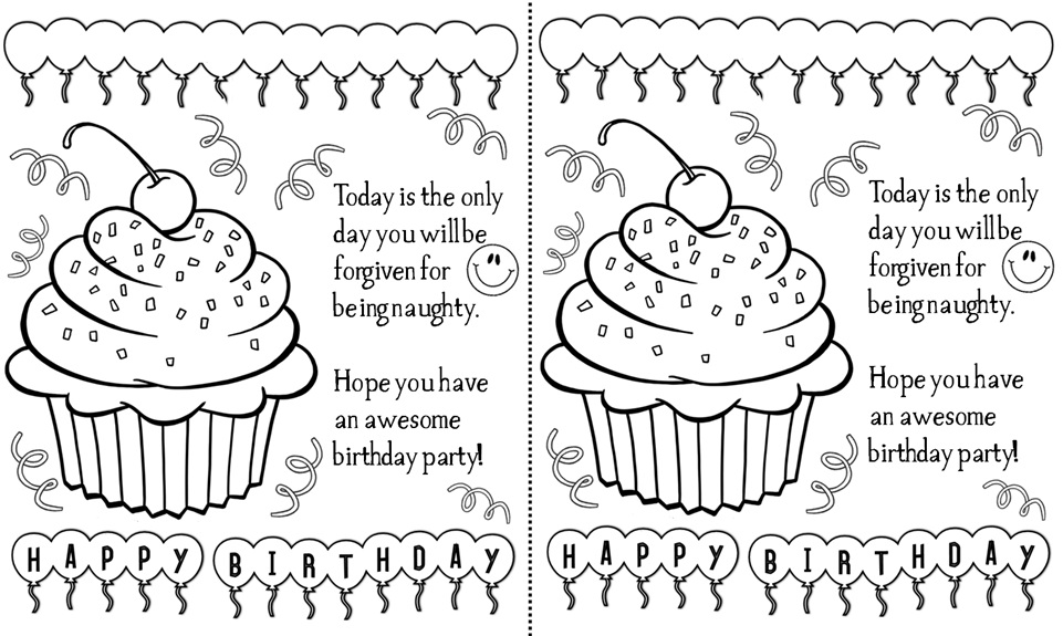 Black and White Happy Birthday Cards Printable