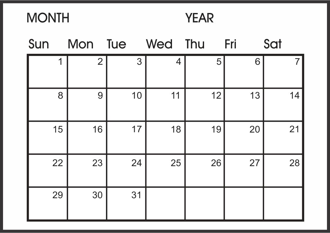 Printable Blank Monthly Calendar Template