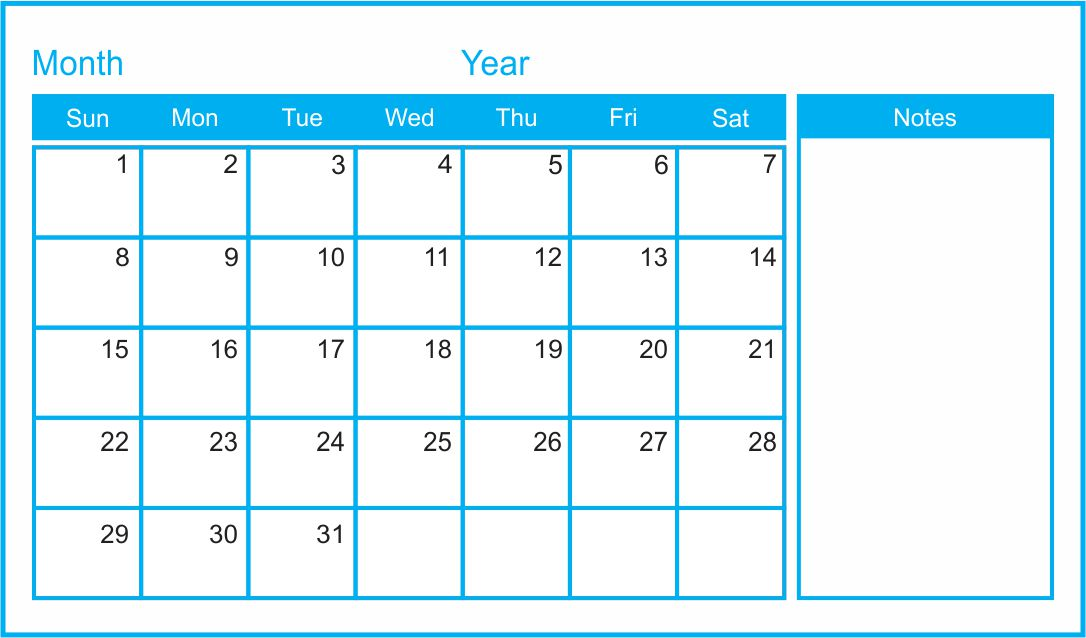 7 best images of printable blank monthly calendar template