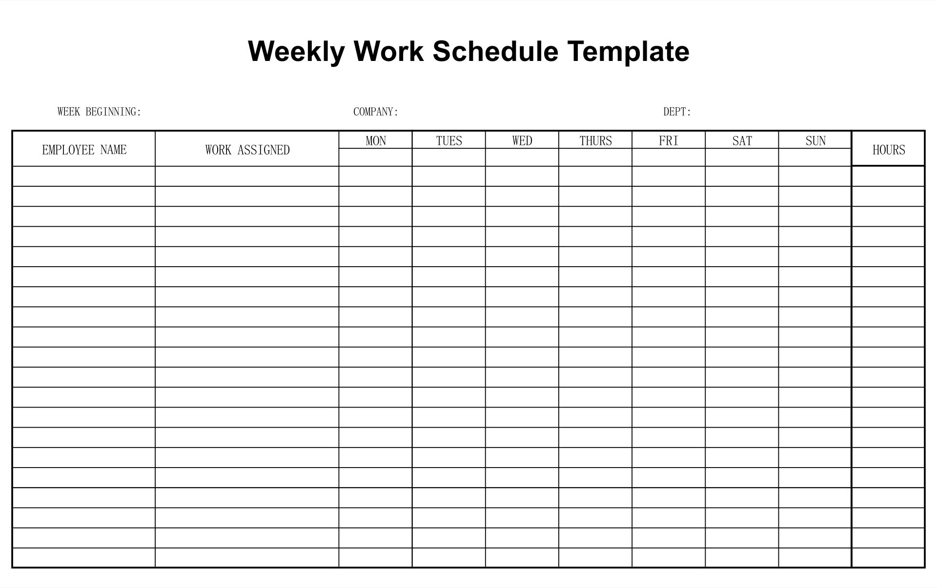 10 Best Free Printable Blank Employee Schedules ...