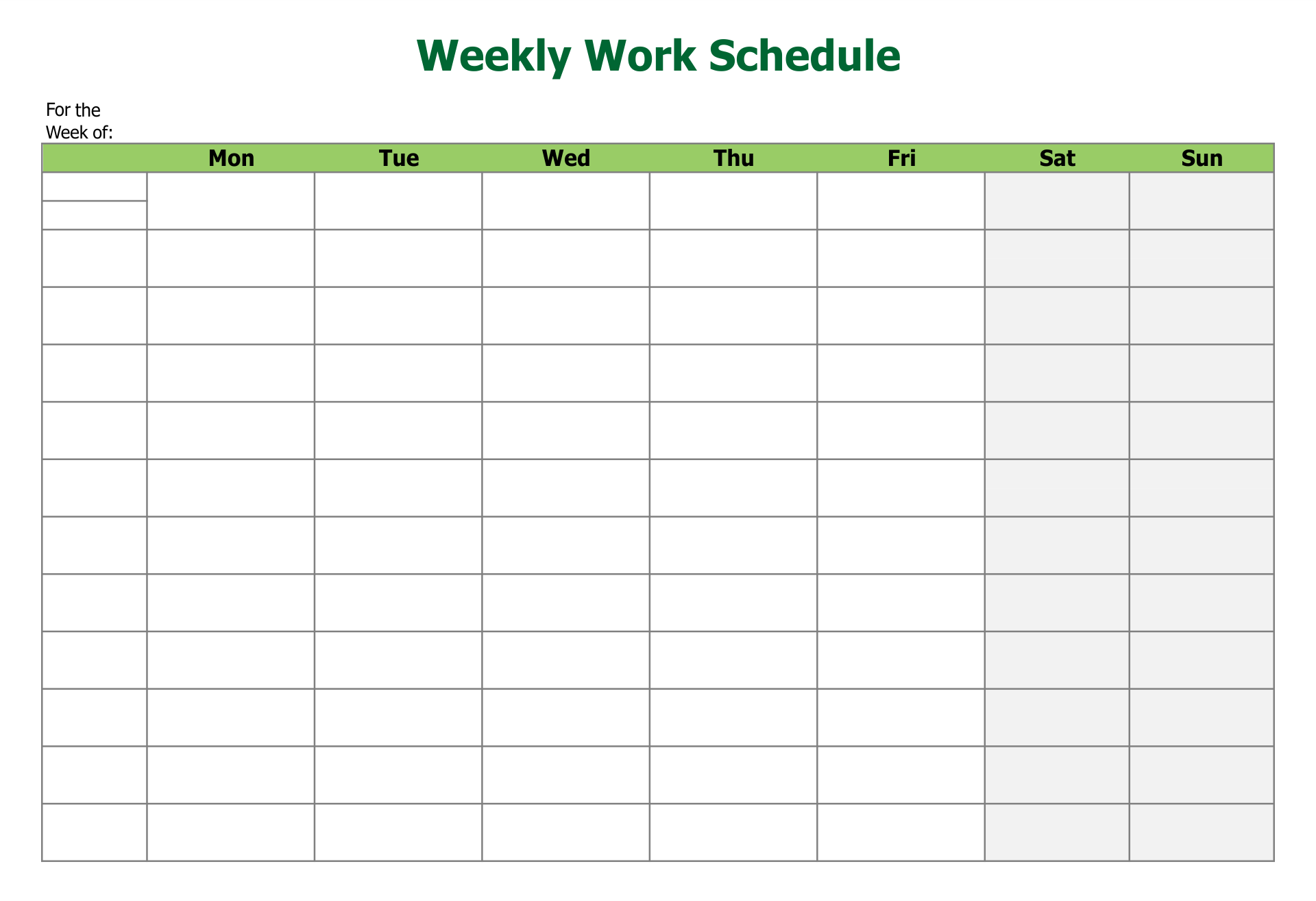 10 Images of Free Printable Blank Employee Schedules