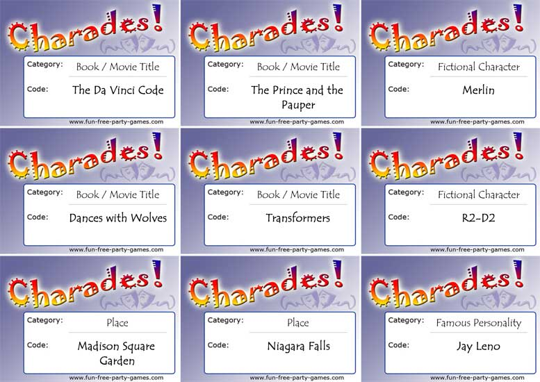 6 Images of Printable Charade Ideas
