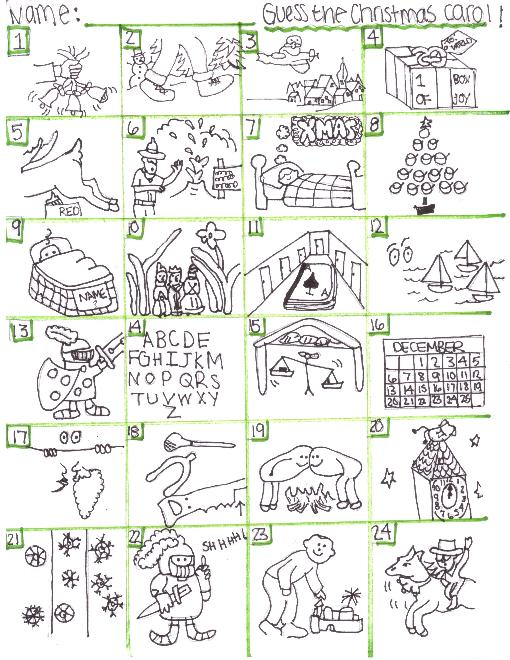 4 Images of Christmas Carol Brain Teasers Printable