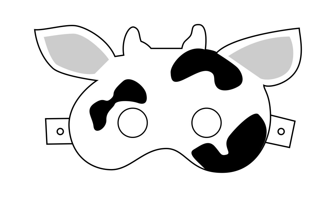 Cow Mask Template for Kids