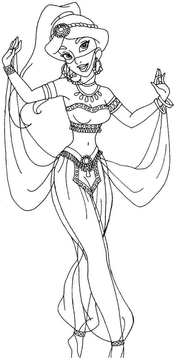 8 best images of printable disney princess jasmine for Jasmine the princess coloring pages