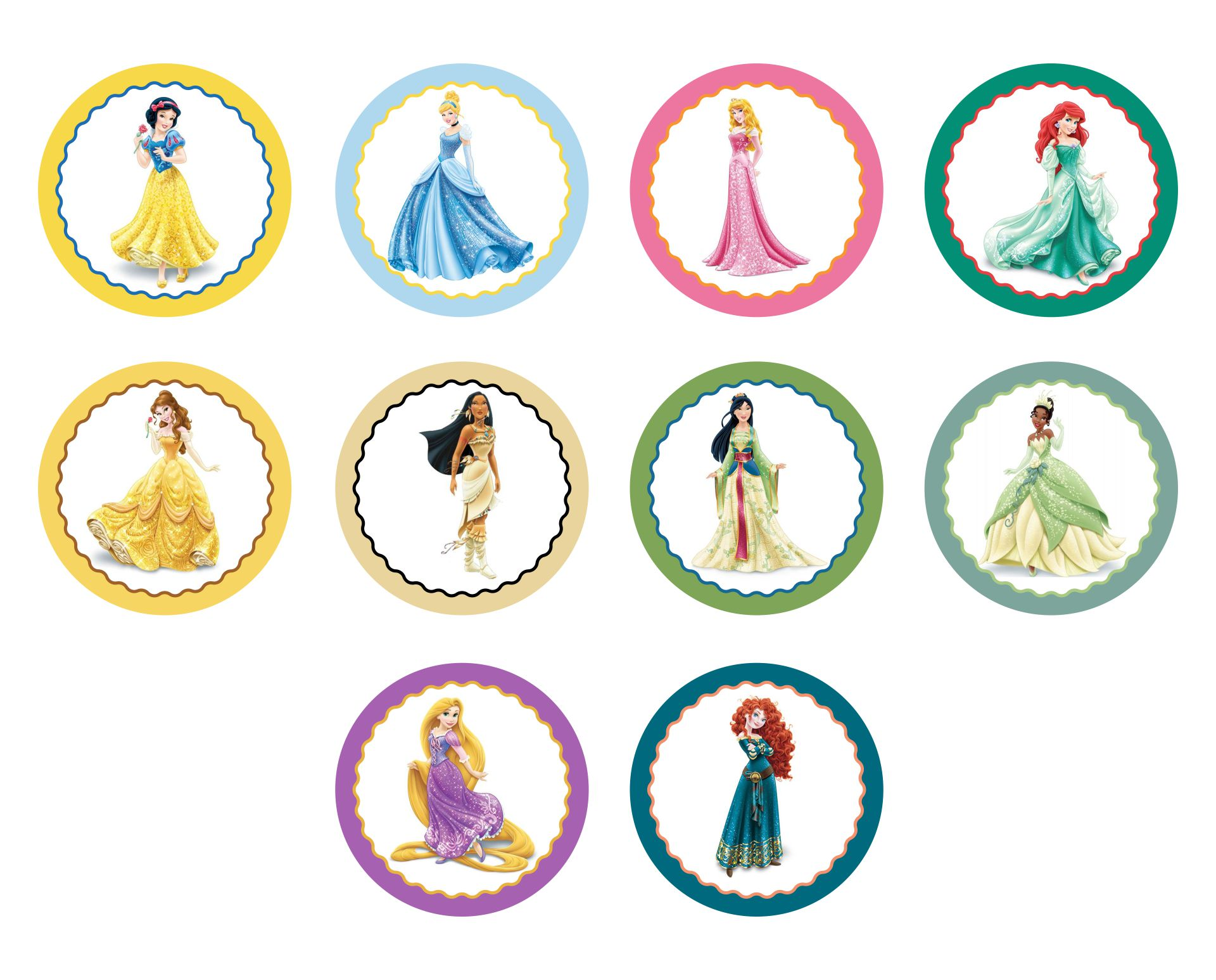 6 Images of Disney Princess Cupcake Toppers Free Printables