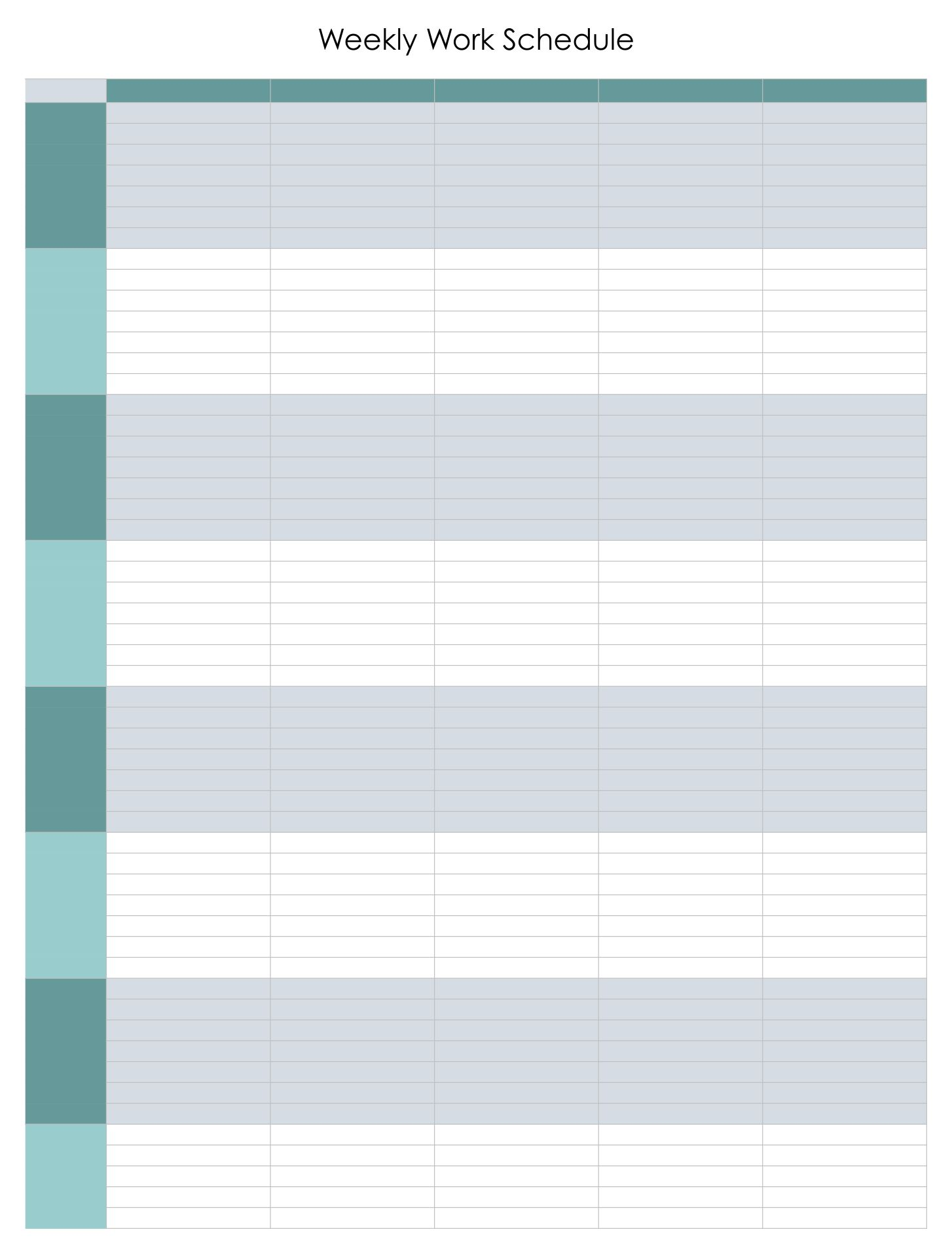 Weekly Work Schedule Template Excel on write a bill worksheet Photos ...