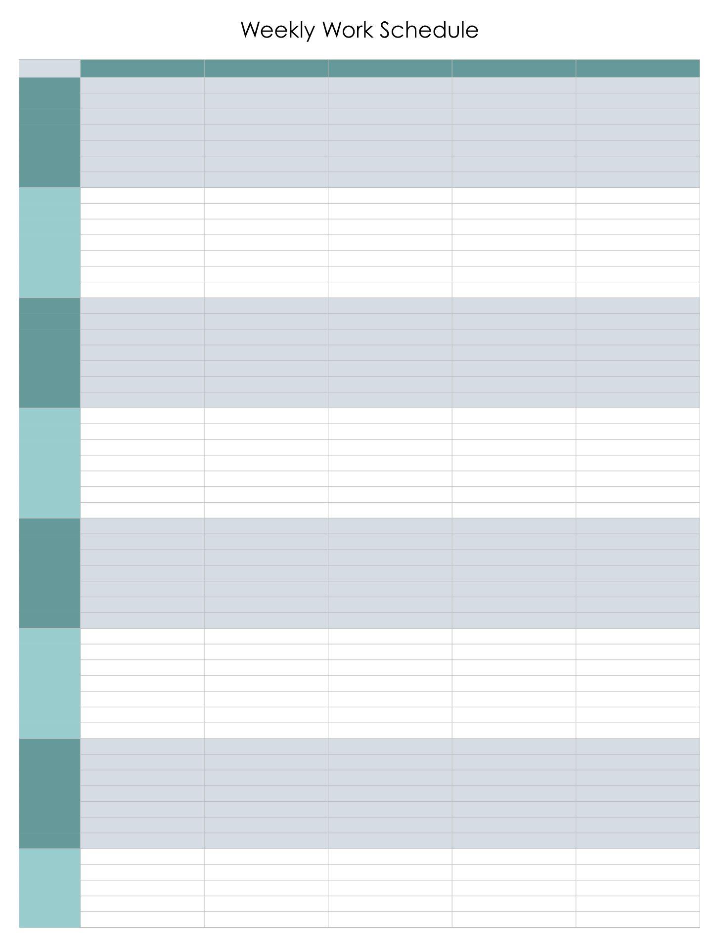 10 Best Free Printable Blank Employee Schedules Printablee Com
