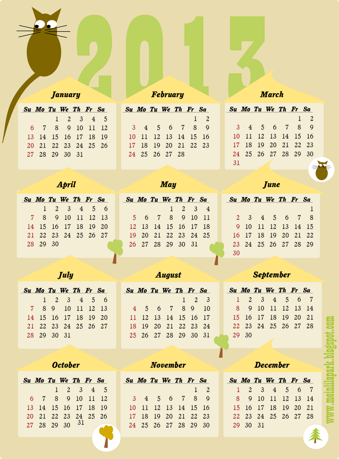 8 Images of Free Printable Cat Calendar 2013