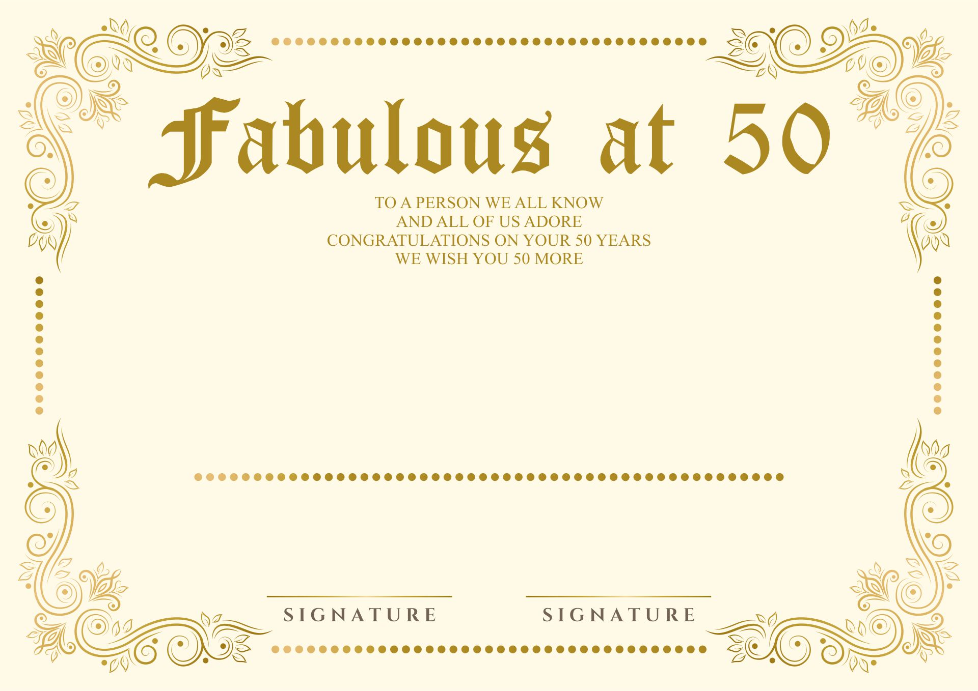 9 Images of 50th Birthday Certificate Printable